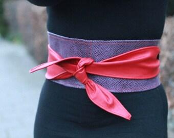 Patchwork leather belt, handmade, ooak waist cincher belt