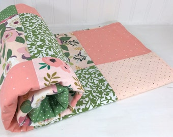 Baby Blanket, Nursery Decor, Minky Baby Blanket, Baby Shower Gift, Patchwork Quilt, Blanket, Coral Pink Blush Green Floral Flower Baby Girl