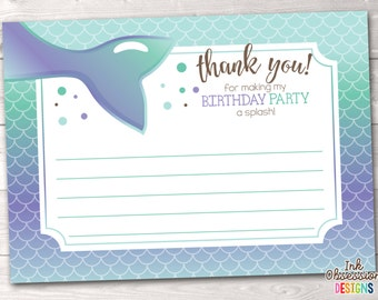 Mermaid Thank You Card, Printable Girls Mermaid Birthday Party Thank You, Instant Download Stationery