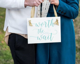 Worth The Wait Announcement Sign for Pregnancy or Adoption | Baby Reveal Maternity Shoot Picture Prop | Hanging Banner Made in US 1442 BB