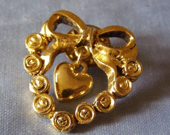 vintage CAMCO Ribbon over HEART Pin w sm Heart Pendant - goldtone Finish ladies Costume Jewelry Sweetheart, WIFE, Fiancee, Girlfriend gift