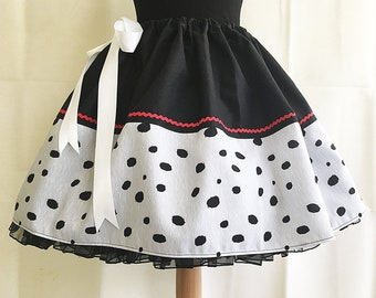 Dalmatian Skirt, Full Fun Dalmatian costume for women, Childrens sizes available, Rooby Lane