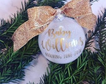Pregnancy Announcement, Baby Announcement Ornament, Baby Ornament, Expecting Ornament, Christmas Ornament, New Baby Ornament, Pregnancy Gift