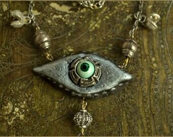 SALE 26 eur Eye necklace - mystic eye  -  OOAK Handmade jewelry sculpt