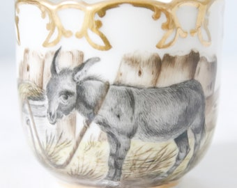 Sweet Vintage Porcelain Cup and Saucer with Donkey Decor, Belgium