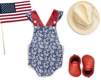 4th of July Outfit Baby Girl 4th of July Baby Girl Romper Patriotic Outfit Toddler Girl Summer Romper Red White Blue Independence Day Outfit