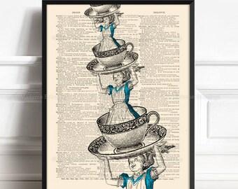 Alice Adventures Art, Wonderland Art Gift, Alice Room Decor, Lewis Carroll Decor, 6th Birthday Gift, Pop Surrealism, Alice Girls Nursery 354