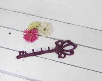 Key Hook/Skeleton Key/Cast Iron Key/Cast Iron Decor/Metal Hook/Door Key/Key Hanger/Wall Hooks