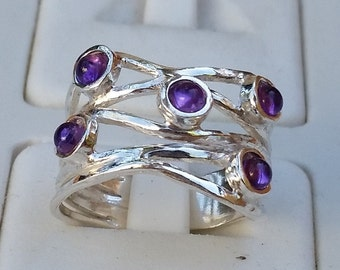 Amethyst Silver Ring, Silver Ring, Gemstones Ring, Multistone Ring, Handmade Statement Ring, Statement Ring, Friendship Ring, Mother's Day
