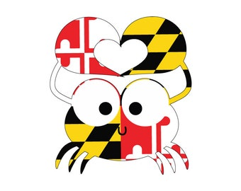 Maryland Crab with Heart Vehicle Decal- Maryland Flag  .  Blue Crab Sticker.  Maryland Flag decal.