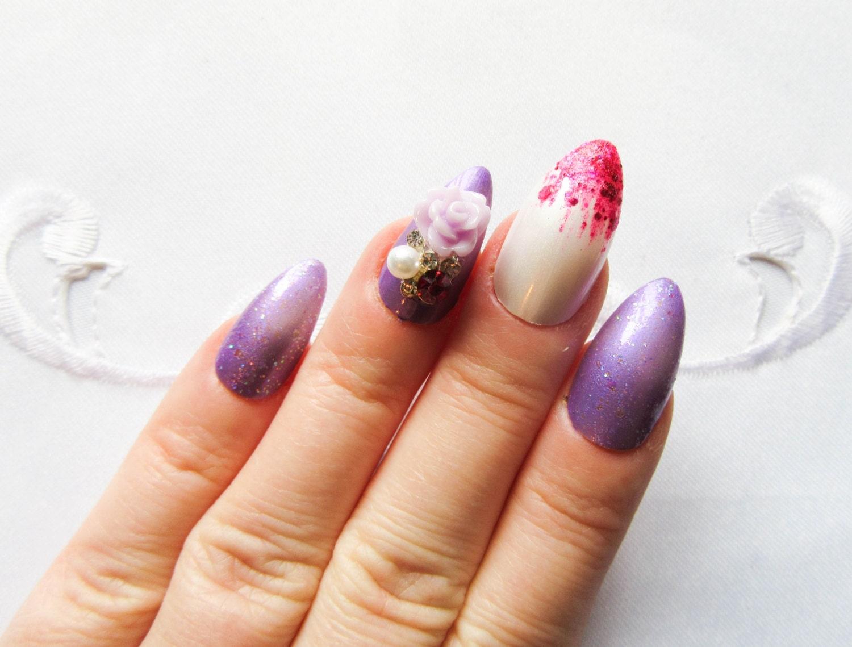 Lila Rose & Glitter Stiletto Nägel künstliche Nägel Mandel