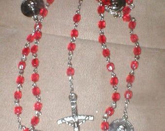 Vintage commemorative Pope John Paul Red Crystal Rosary