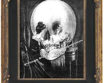 Skull Illusion Art Print 8 x 10 Victorian -  Fine Art All is Vanity Skull or Woman at Vanity