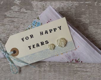 wedding handkerchief For Happy Tears favour cotton gift floral hankie bridesmaids, mother of the bride