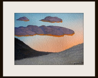 5X7 Sunset in the Hills Original Watercolour Painting / Landscape, Mountain, Grass, Orange, Blue / SFA (Small Format Art) / Ready to Ship