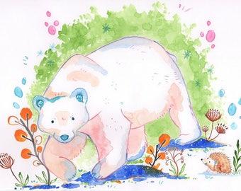 """Watercolor art print """"polar bear"""""""
