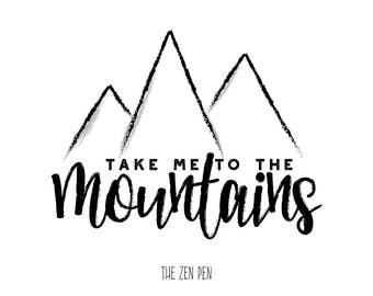 Mountains, Digital Print, Nature, Wall Art, Decor, Design,