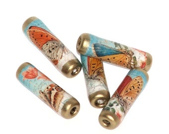 Paper Beads - Butterflies - orange, cream and blue for nature and wildlife crafts,