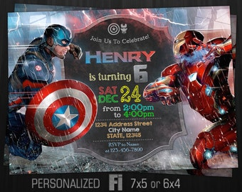 The Avengers Invitation, Civil War Invitation, Captain America vs Iron man, Avengers Birthday Party, Personalized, Printable, Digital File
