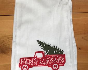 Christmas Vintage Truck Kitchen Towel
