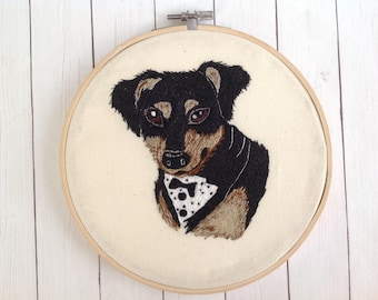 "Embroidered Hoop ""Dog"".Bamboo Hoop."