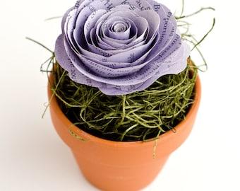 Color Customized Book Rose in a Mini Terra Cotta Flower Pot - Harry Potter, Little Women, Outlander, Pride and Prejudice, etc.