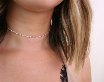 Silver Dainty Choker Necklace- Simple Silver Choker, Silver Chain Choker, Silver Dainty Choker, Dainty Choker, Silver Choker, (A26A)