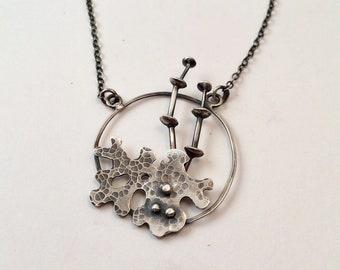 Round Silver Lichen Pendant