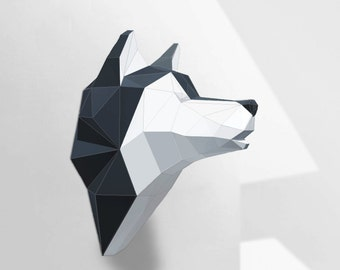 Wolf Sculpture, Husky Papercraft, Make your own paper wolf / husky, Room decoration, paper craft, Low poly, printable DIY template, PDF