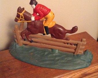 Vintage Mid-Century Cast Iron Doorstop with Horse and Rider Jumping Fence
