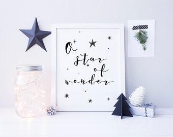 Star of Wonder Christmas Art - Printable Christmas Art - Black Christmas Decor - Calligraphy Word Art - Christmas Art Download - Star Decor