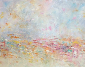 """Abstract Landscape 'The Whole of the Moon'- acrylic painting on canvas - size 100cm x 50cm (40"""" x 20"""")"""
