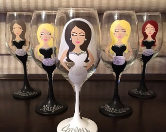 Bridal party wine glasses
