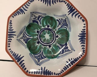Vintage Mexican pottery bowl - hand painted
