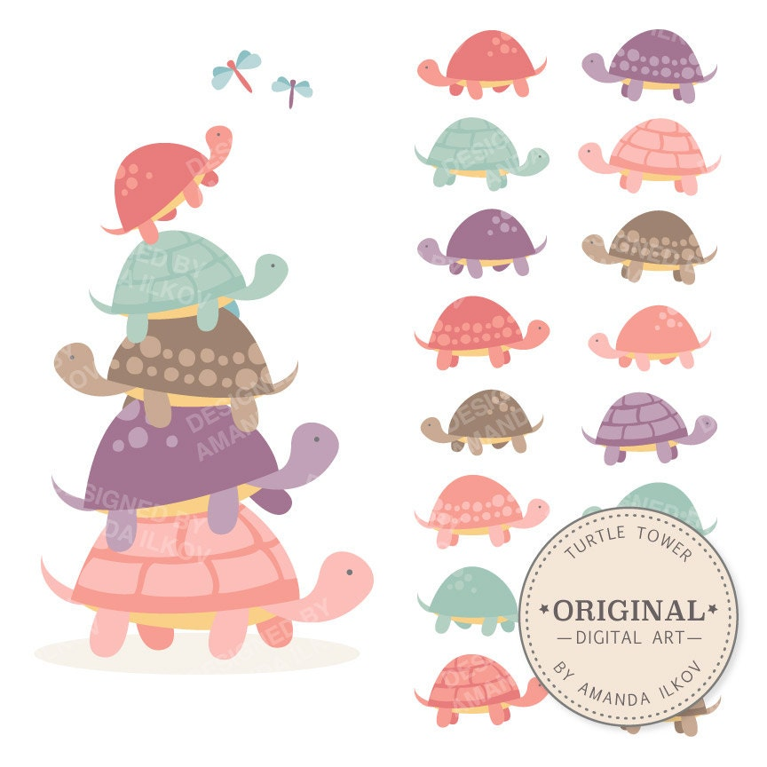 Premium Girls Turtle Tower Clip Art & Vectors Pink Turtles
