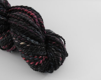 Handspun wool , black pink light blue