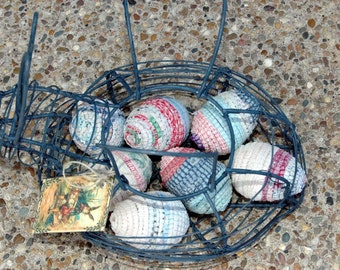 Easter Eggs Bunny Basket Primitive Early Vibrant Wrapped