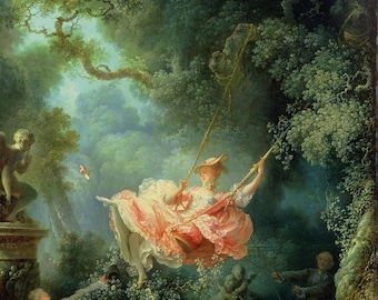 Jean-Honoré Fragonard : The Swing (1767) Canvas Gallery Wrapped Giclee Wall Art Print (D604)