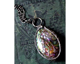 Shell Necklace, Abalone Necklace, Shell Jewelry, Paua Shell Necklace, Natural Abalone Pendant, Sea Shell Jewelry, Long Necklace (2150)