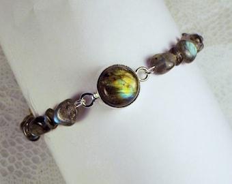"Cynthia Lynn ""LUMINOUS"" Sterling Silver Luminous Earthy Labradorite Beaded Bracelet"