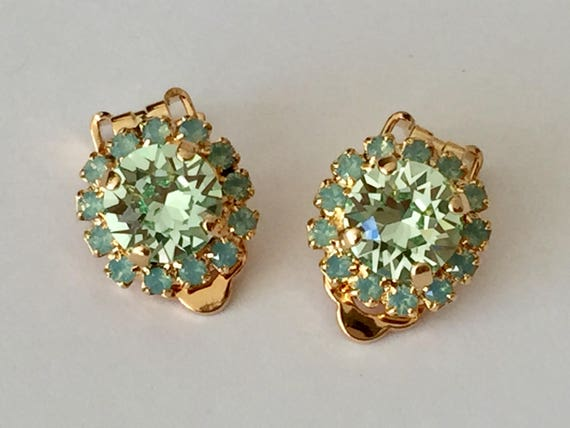 Chrysolite and Pacific Opal Swarovski Crystal Clip On Earrings, Yellow Gold