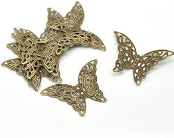 set of 6 Butterfly filigree connectors bronze 41 mm