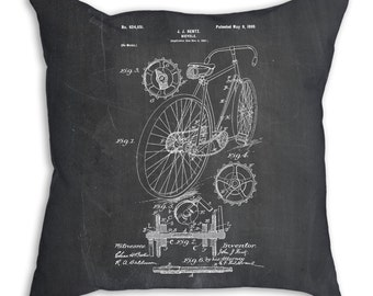 Bicycle Pillow, Cyclist Gift, Cycling Gift, Bicycle Bedding, Bicycle Art, PP0025