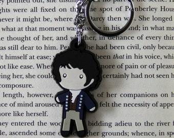 MR. DARCY Figure Keychain Charm Jane Austen Book Pride & Prejudice Great Gift!