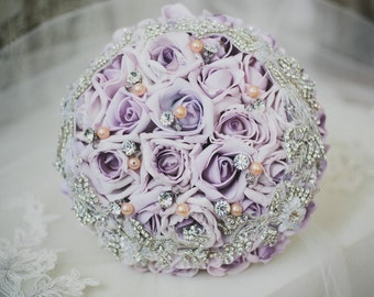 On sale today, purple bouquet, Rhinestone flowers, brooch bouquet, wedding Flowers, bridesmaid bouquet, keepsake bouquet, pearl bouquet