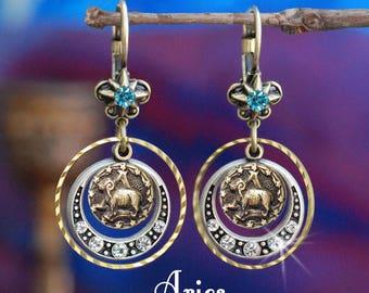 Aries Earrings, Zodiac Jewelry, Aries Jewelry, Zodiac Earrings, Astrology Jewelry, March April Birthday Gift, Horoscope Jewelry E1241-AR