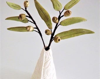 Ceramic Australian Eucalyptus and gumnuts in a  vase all hand crafted