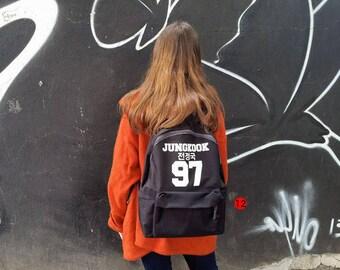 Backpack school BTS bangtan boys beyond the stage jungkook suga jin jimin taehyung rap monster j-hope black bag various prints