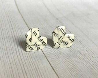 Literary Origami Heart Post Earrings