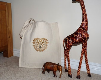 Majestic Lion Custom Embroidered Canvas Tote Bag